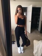 tank top,black top,black pants,high waisted,white sneakers,louis vuitton,louis vuitton bag,jeans,top,black trousers,pants,jeggings,shirt,black,cropped