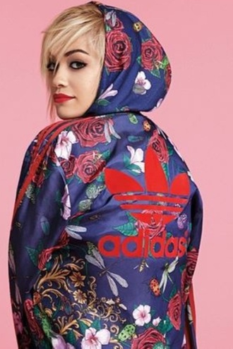 coat cardigan adidas rita ora roses blue jacket sweater adidas originals adidas jacket adidas tracksuit spring jacket