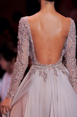 dress prom dress wedding dress sparkly dress backless dress prom beaded dress open back dresses grey dress gown haute couture elie saab