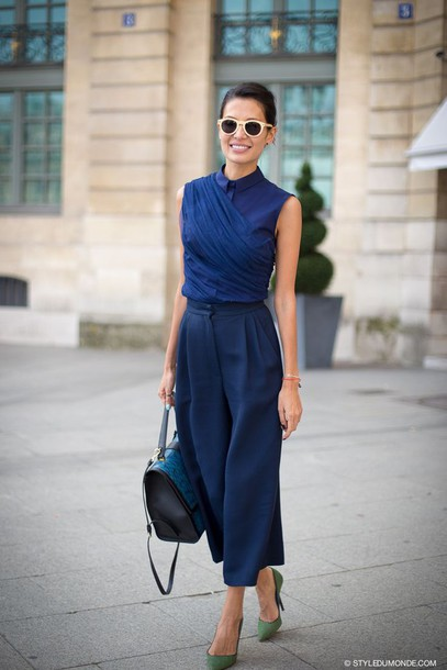 pants culottes blouse All navy blue outfit top khaki pumps all blue All blue outfit blue top sleeveless blue pants palazzo pants bag blue bag pumps pointed toe pumps sunglasses white sunglasses spring outfits