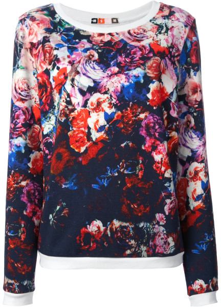 Msgm Floral Print Sweater in Multicolor (blue) | Lyst