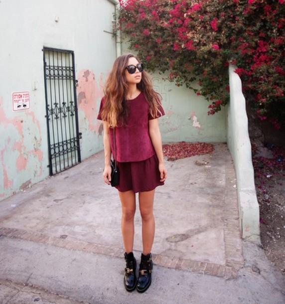 Shirt red velvet burgundy skirt burgundy dark red red velvet top red shirt red top ...