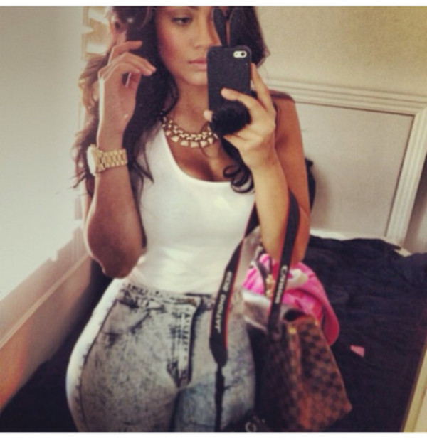 pants gold watch gold watch gold chain high waisted pants jeans lv curly hair