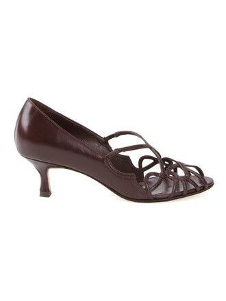 strappy women pumps brown shoes