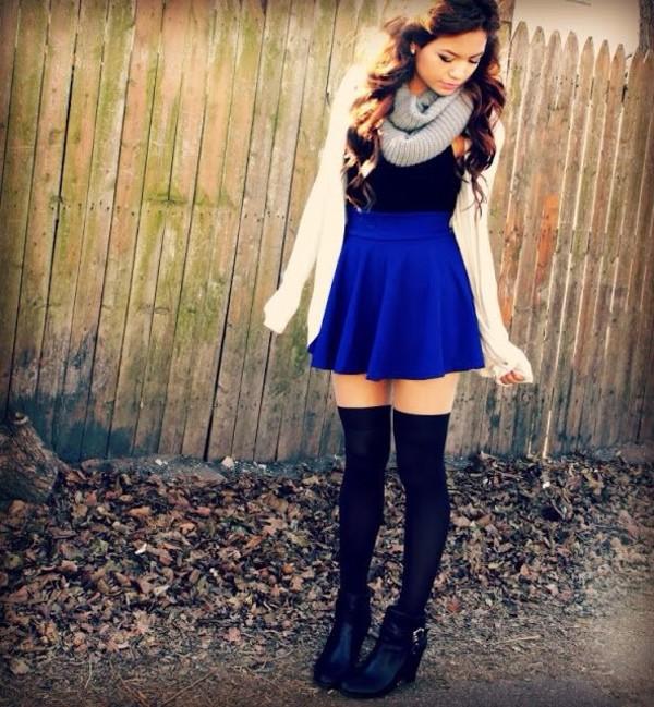 scarf grey scarf blue skirt