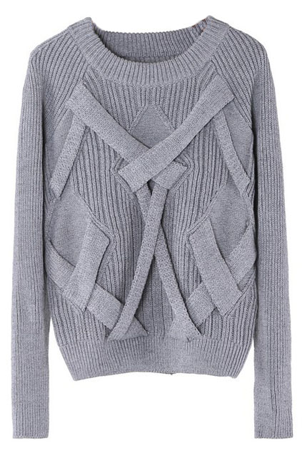 ROMWE | Crossed Strips Grey Jumper, The Latest Street Fashion