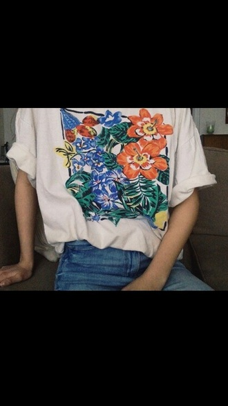 t-shirt flowers painted white artsy