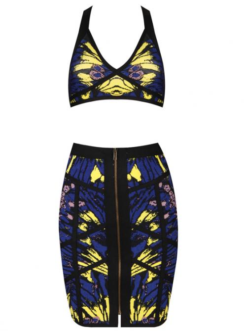 Printed Strap Bandage Dress with Zipper In Front H671$129