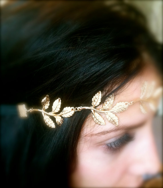 Gold feather headband by pscharmcandy on etsy