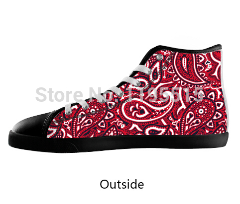 9a4abd87da58 Red Bandana Pattern Fans Shoes Men Black Lace up High Top ...