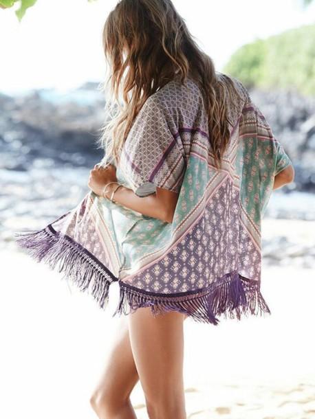 top coat blouse shirt cardigan kimono green purple style summer trendy jacket fashion t-shirt