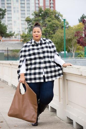 garner style blogger top shoes jeans bag plus size cape handbag plus size jeans curvy