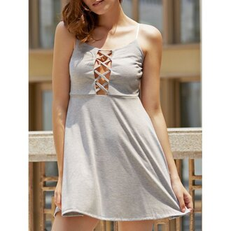 dress grey fashion casual summer hot trendy criss cross rose wholesale-ap