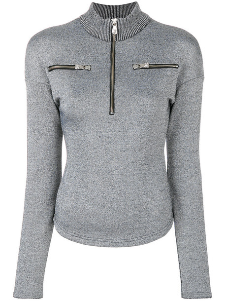 Versus jumper metallic high women high neck wool grey sweater