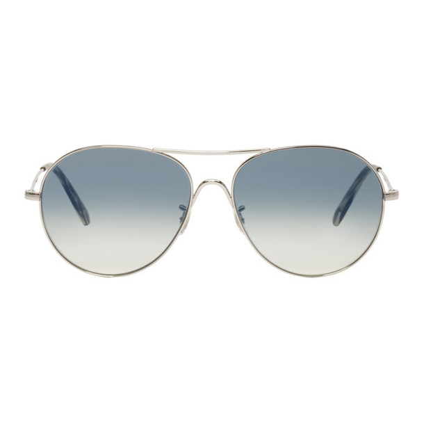 Oliver Peoples Silver & Blue Rockmore Aviator Sunglasses