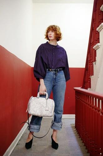 de lune blogger shirt jeans shoes bag belt top handbag fall outfits heels