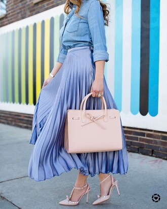 skirt blue skirt tumblr pleated pleated skirt satin bag nude bag slingbacks sandals sandal heels high heel sandals bow bow heels bow shoes shirt blue shirt denim shirt maxi skirt