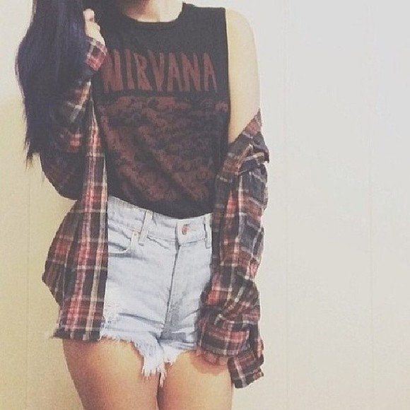 nirvana t-shirt nirvana flannel High waisted shorts shirt t-shirt jacket shorts top flannel