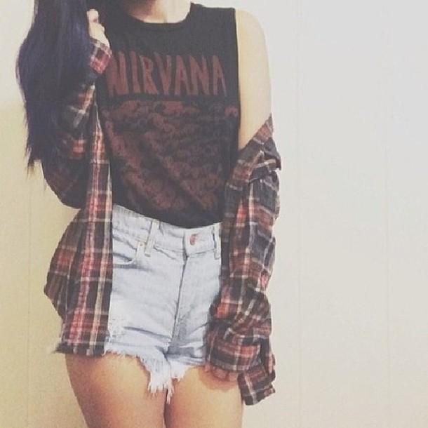top tank top shirt shorts denim shorts