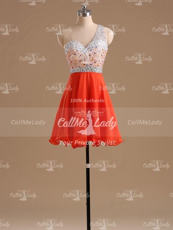 Orange one-shoulder beading short prom dresses / homecoming dress - CallMeLady