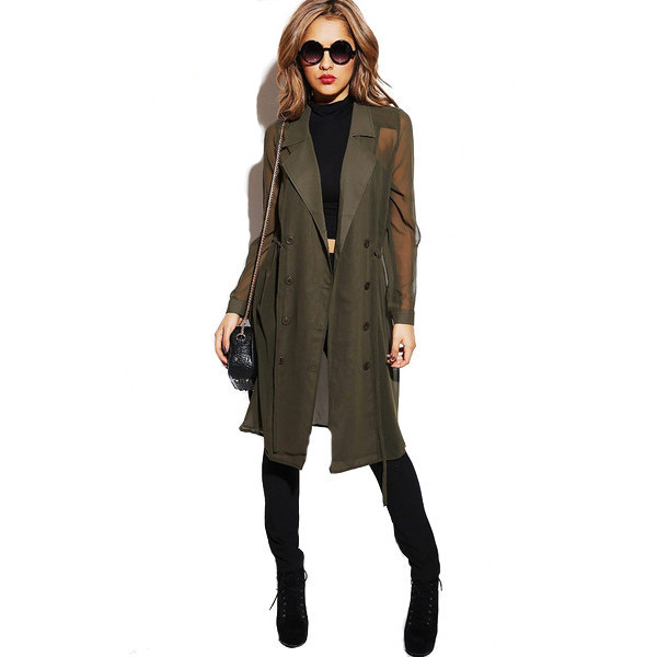 jacket trench coat coat covert operation olive green green makeup table vanity row dress to kill shee sheer chiffon