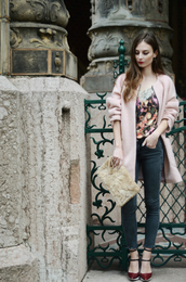 venka vision,blogger,top,jeans,bag,roses,coat,baby pink,heels,pouch,faux fur,furry pouch,furry bag