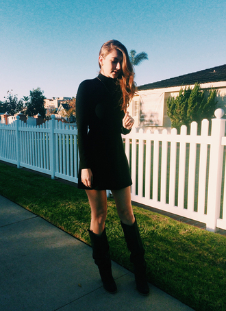 these days blogger knee high boots black dress