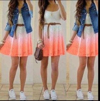 dress white dress orange dress ombre dress