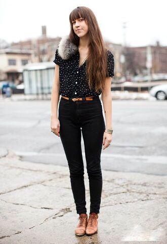 shoes polka dot shirt brown skinny belt black jeans fauz fur brown oxford shoes blogger