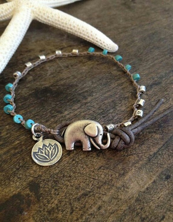 jewels bracelets cute boho elephant bracelet elaphant teal silver lotus flowers elephant beaded