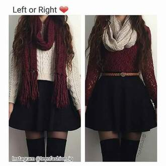 skirt shirt is nice too black shirt lace burgundy white dress scarf infinity scarf tights belt pretty cute dress thanks