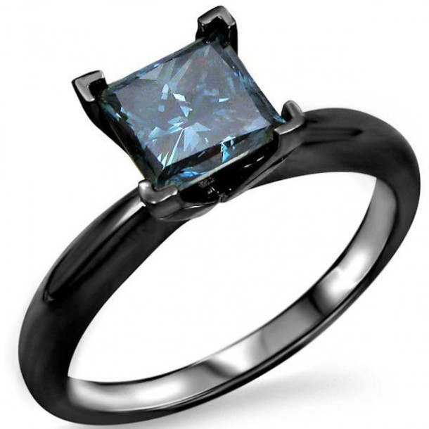 Jewels princess cut blue diamond blue diamond solitaire ring black engagem