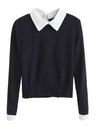 blouse black white shirt peter pan collar fashion style boho chic