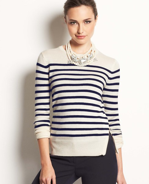 Park Stripe Side Zip Sweater | Ann Taylor