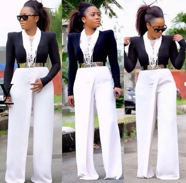 54b7c6f75cdcbc wide-leg pants, pants, wide-leg pants, white pants, blouse, black ...