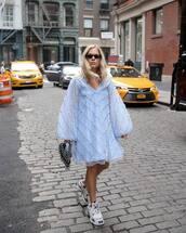 dress,mini dress,long sleeve dress,handbag,sneakers,platform sneakers,sunglasses
