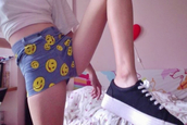 shorts,smiley,shoes,high waisted,jeans,tongue,yellow,denim,hot pants denim