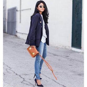 jacket storets 36683 fashion blazer blogger blazer black blazer top blogger lifestyle winter outfits black jacket marine clothes walk in wonderland