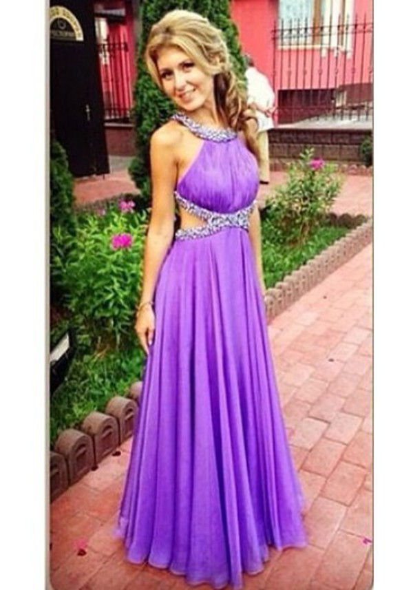 Dress Chiffon Long Beautiful Fashion Purple Prom Dresses Prom