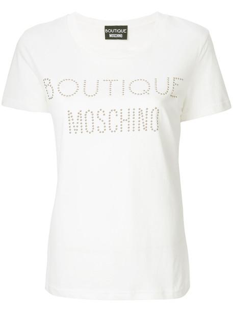 BOUTIQUE MOSCHINO t-shirt shirt t-shirt studded women white cotton top