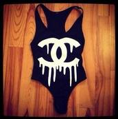 swimwear,one piece,binki,tumblr,swimming suit,chanel