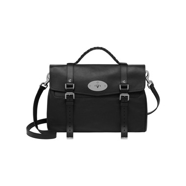Oversized Alexa in Black Polished Buffalo With Nickel | Women's Bags | Mulberry