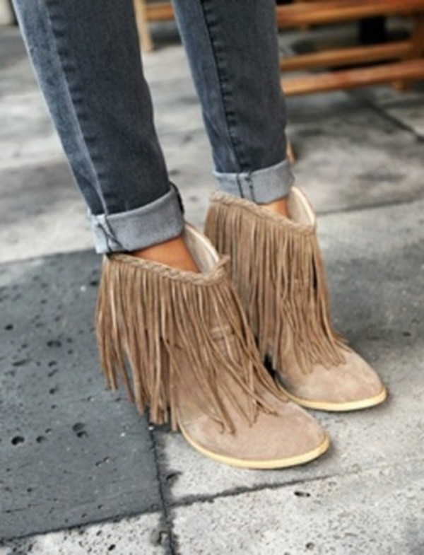 shoes boots ankle boots fringes