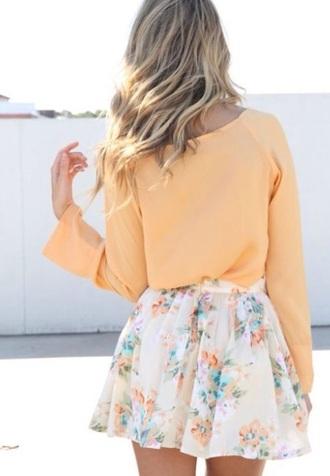 blouse orange bright long sleeves skirt floral flowers white
