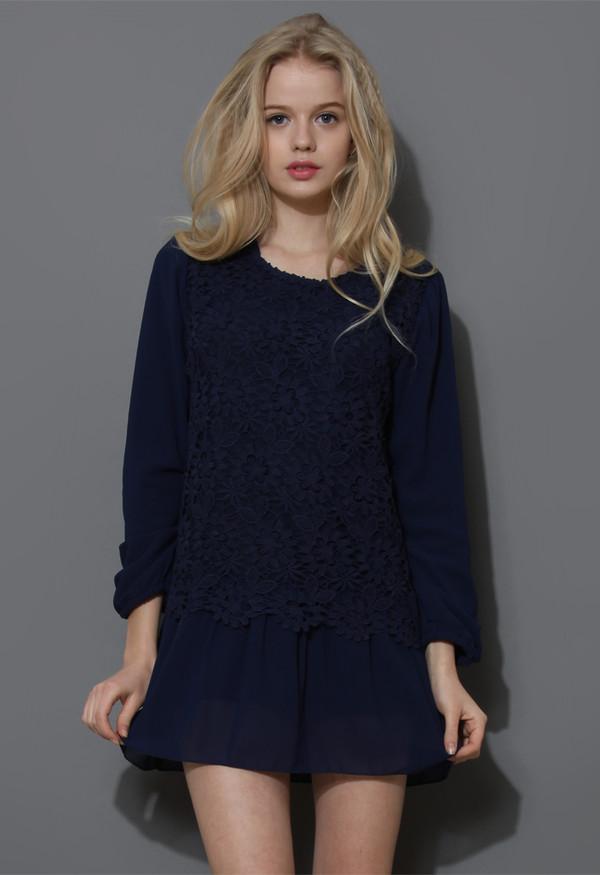 dress floral crochet layered chiffon navy