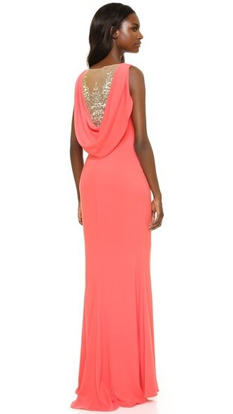 gown back coral dress