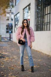 jacket,tumblr,pink jacket,bag,jeans,denim,boots,black boots,sunglasses,fur jacket,faux fur jacket