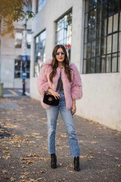 jacket tumblr pink jacket bag jeans denim boots black boots sunglasses fur jacket faux fur jacket