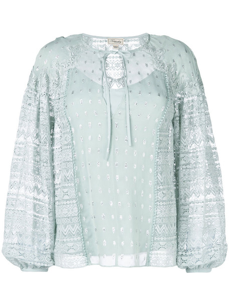 Temperley London blouse metallic women lace cotton silk green top