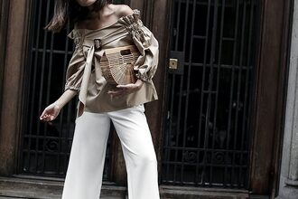 fake leather blogger shoes top bag jewels white pants blouse cult gaia bag summer outfits